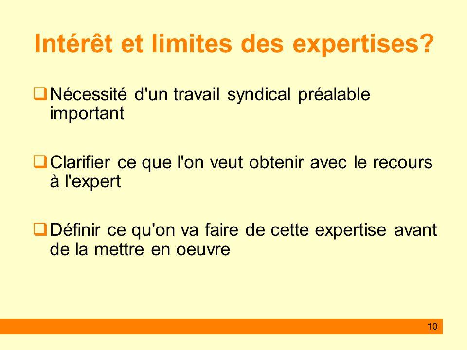 10 Intérêt et limites des expertises? Nécessité d'un travail syndical préalable important Clarifier ce que l'on veut obtenir avec le recours à l'exper