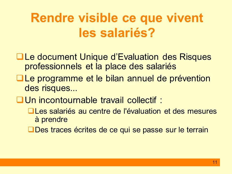 11 Rendre visible ce que vivent les salariés? Le document Unique dEvaluation des Risques professionnels et la place des salariés Le programme et le bi