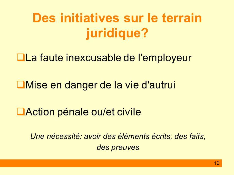 12 Des initiatives sur le terrain juridique? La faute inexcusable de l'employeur Mise en danger de la vie d'autrui Action pénale ou/et civile Une néce