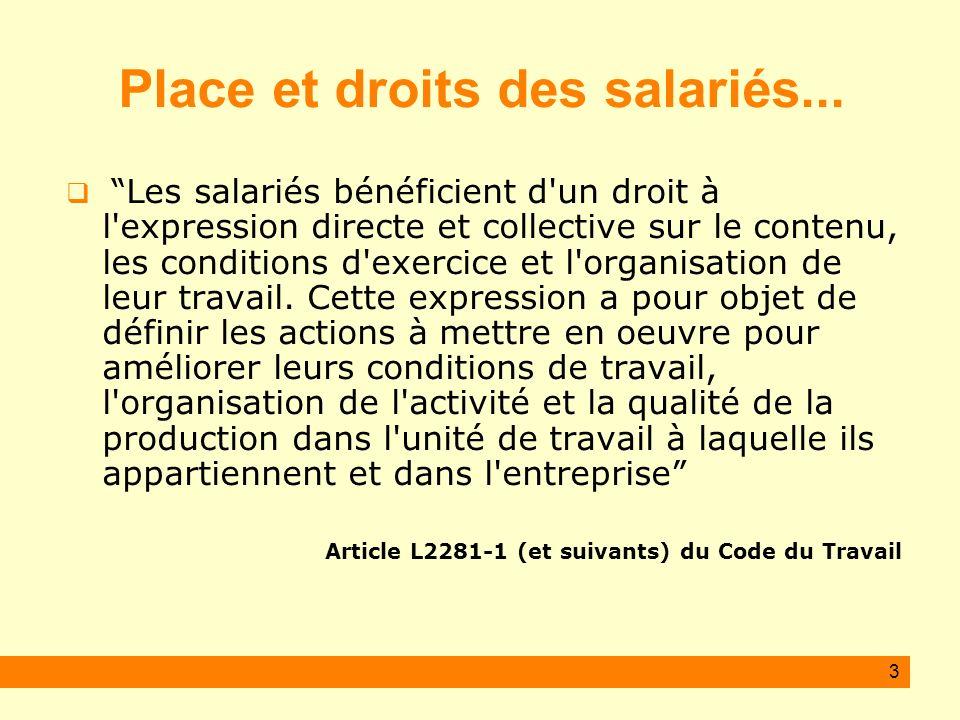 3 Place et droits des salariés... Les salariés bénéficient d'un droit à l'expression directe et collective sur le contenu, les conditions d'exercice e