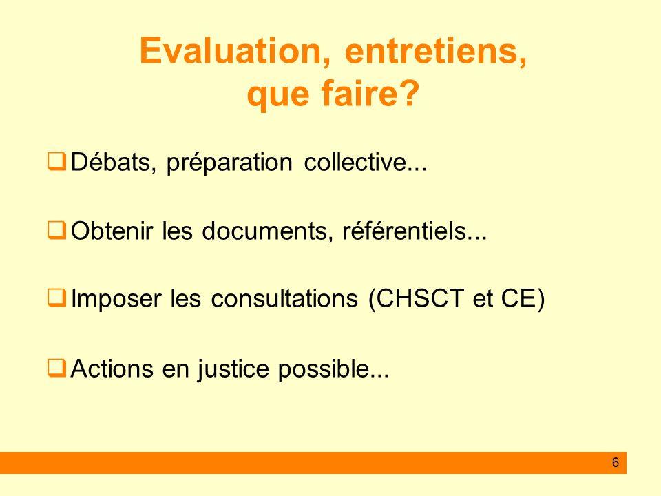 6 Evaluation, entretiens, que faire? Débats, préparation collective... Obtenir les documents, référentiels... Imposer les consultations (CHSCT et CE)