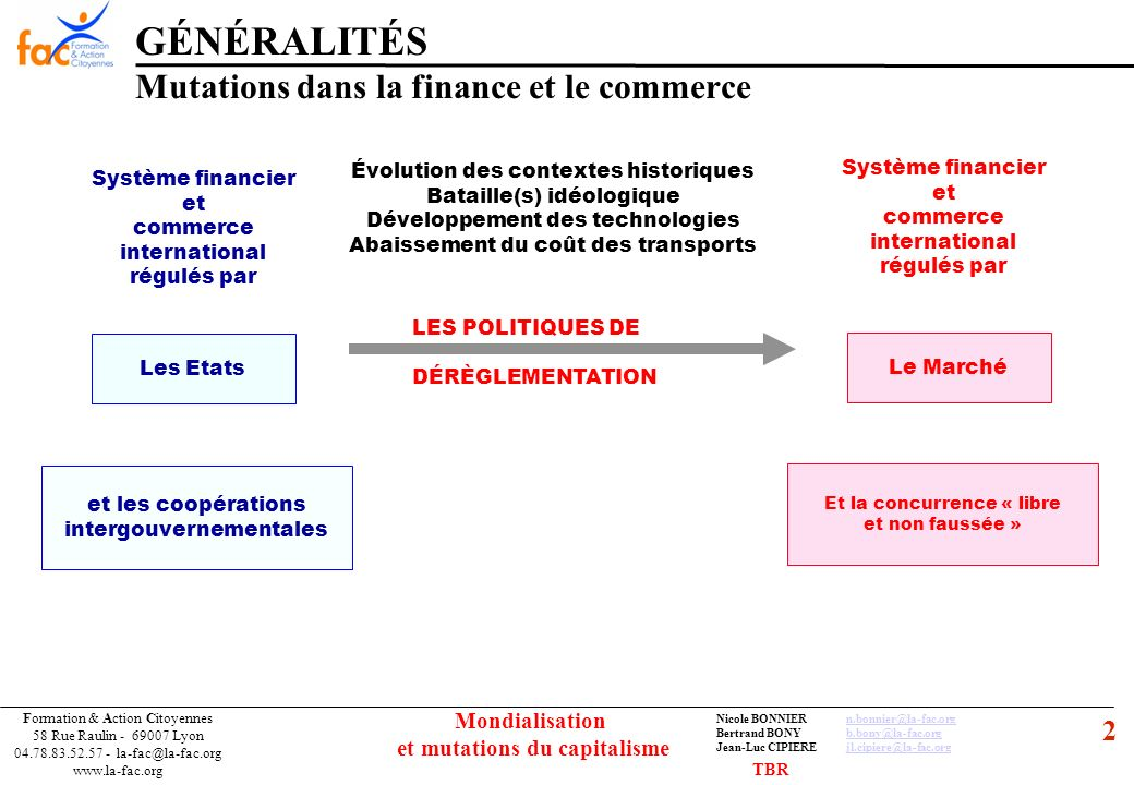 53 Formation & Action Citoyennes 58 Rue Raulin - 69007 Lyon 04.78.83.52.57 - la-fac@la-fac.org www.la-fac.org Nicole BONNIERn.bonnier@la-fac.orgn.bonnier@la-fac.org Bertrand BONYb.bony@la-fac.orgb.bony@la-fac.org Jean-Luc CIPIEREjl.cipiere@la-fac.orgjl.cipiere@la-fac.org Mondialisation et mutations du capitalisme LE FINANCEMENT DE L ECONOMIE Bilan de lévolution du système bancaire et financier depuis les années 80 Domination des forces du marché sur la monnaie et le financement de léconomie Indépendance de la BC Libre circulation des capitaux Révolution des « 3D » Alignement des fiscalités vers le moins disant Dépendance de lÉtat envers les marchés financiers Hausse des déficits publics par réduction des recettes fiscales mais interdiction de les financer par création monétaire L État emprunte sur les marchés financiers…sa politique doit les satisfaire (crédibilité) Étranglement de l État providence, retour à l État gendarme …mais en même temps Rôle de prêteur en dernier ressort et sauveur des marchés en cas de crise (privatisation des profits et socialisation des pertes .