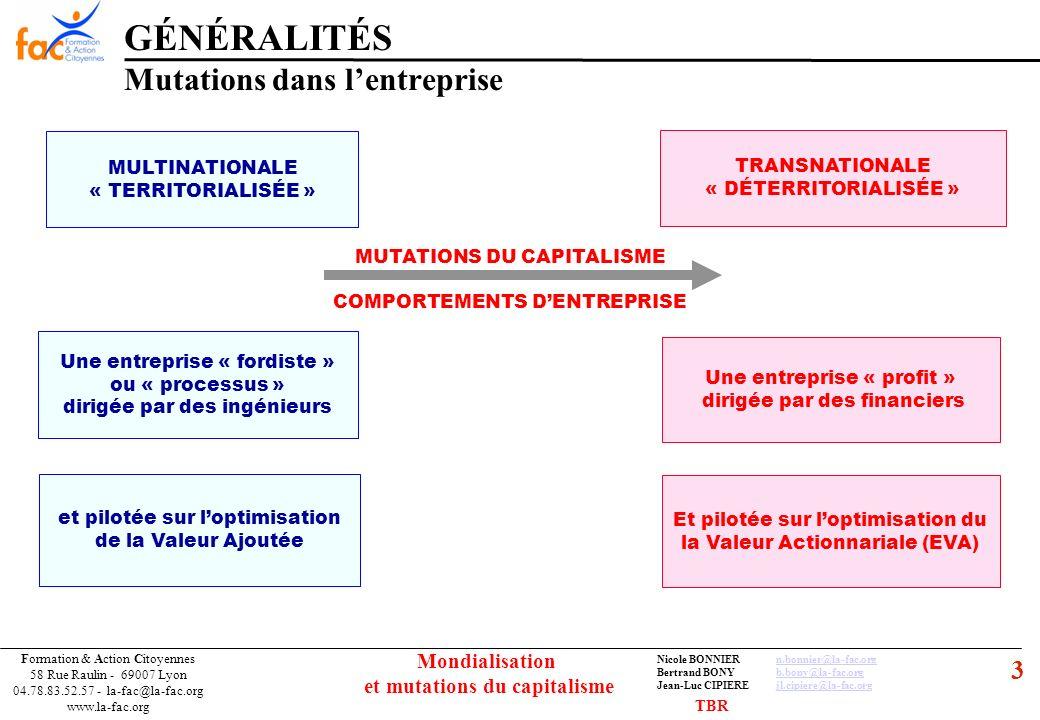 14 Formation & Action Citoyennes 58 Rue Raulin - 69007 Lyon 04.78.83.52.57 - la-fac@la-fac.org www.la-fac.org Nicole BONNIERn.bonnier@la-fac.orgn.bonnier@la-fac.org Bertrand BONYb.bony@la-fac.orgb.bony@la-fac.org Jean-Luc CIPIEREjl.cipiere@la-fac.orgjl.cipiere@la-fac.org Mondialisation et mutations du capitalisme Il assure le financement des « agents » déficitaires en mobilisant les ressources des « agents » qui ont des capacité de financement FINANCE INDIRECTE ou INTERMÉDIÉE dans laquelle les Intermédiaires Financiers sinterposent entre les « agents » Les BANQUES FINANCE DIRECTE ou DÉSINTERMÉDIÉE Les épargnants financent directement les agents déficitaires en achetant les TITRES que ces derniers émettent sur les marchés Les « ZINZINS » GÉNÉRALITÉS Le système financier TBR