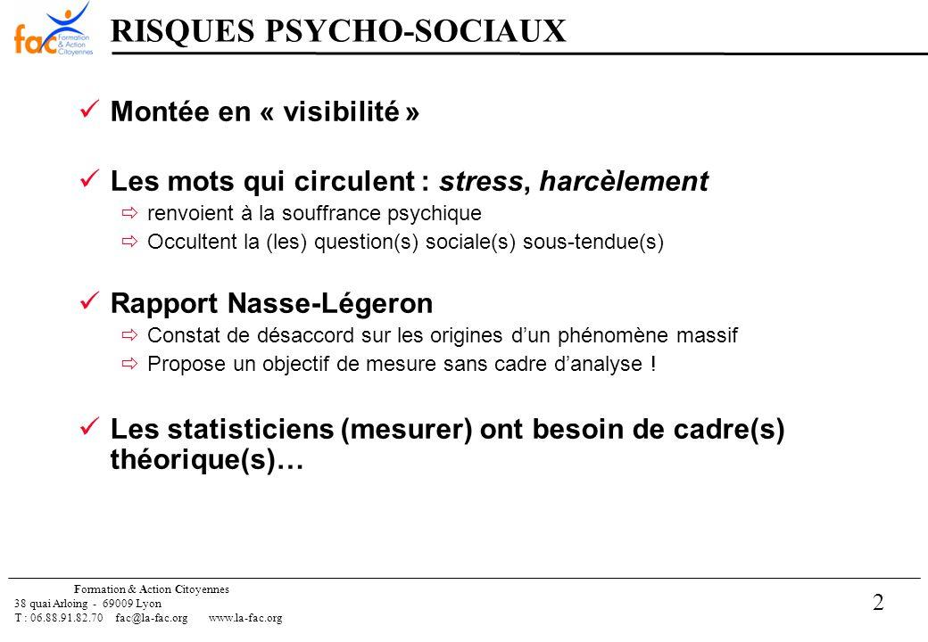2 Formation & Action Citoyennes 38 quai Arloing - 69009 Lyon T : 06.88.91.82.70 fac@la-fac.orgwww.la-fac.org RISQUES PSYCHO-SOCIAUX Montée en « visibilité » Les mots qui circulent : stress, harcèlement renvoient à la souffrance psychique Occultent la (les) question(s) sociale(s) sous-tendue(s) Rapport Nasse-Légeron Constat de désaccord sur les origines dun phénomène massif Propose un objectif de mesure sans cadre danalyse .