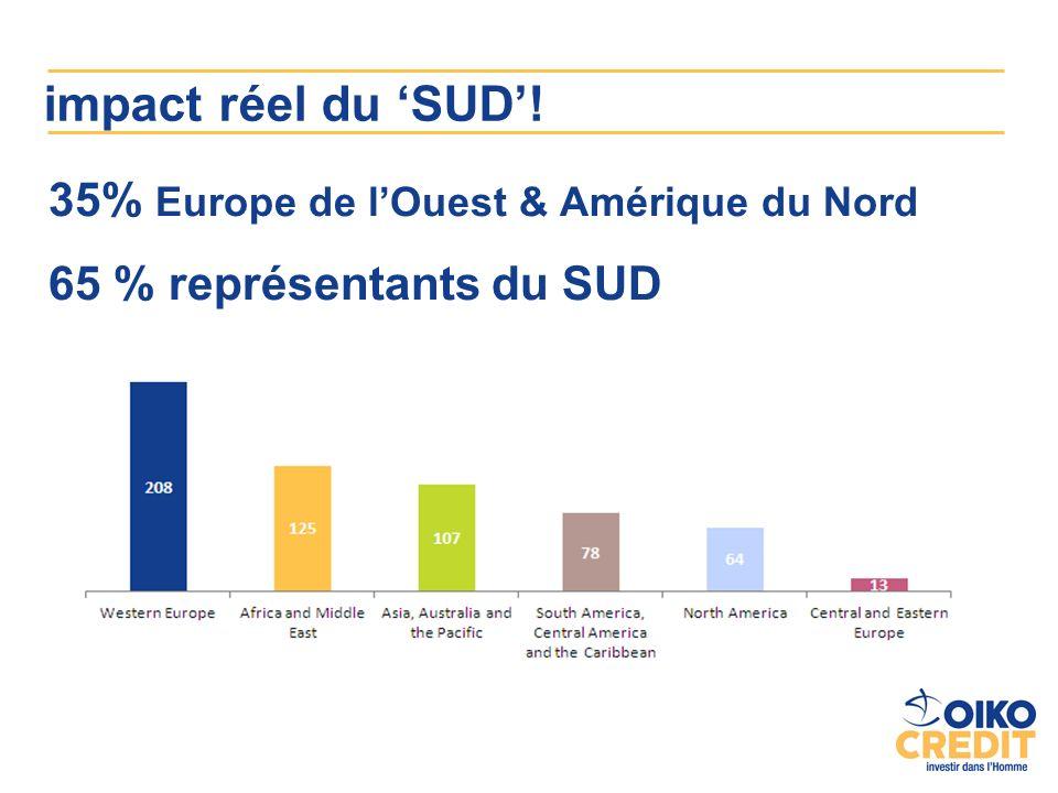 impact réel du SUD! 35% Europe de lOuest & Amérique du Nord 65 % représentants du SUD