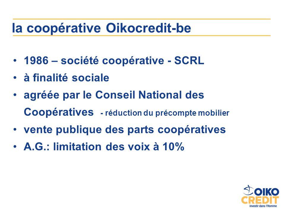 la coopérative Oikocredit-be 1986 – société coopérative - SCRL à finalité sociale agréée par le Conseil National des Coopératives - réduction du précompte mobilier vente publique des parts coopératives A.G.: limitation des voix à 10%