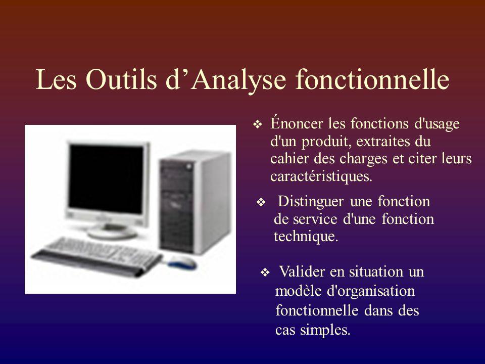 Les Outils dAnalyse fonctionnelle Énoncer les fonctions d usage d un produit, extraites du cahier des charges et citer leurs caractéristiques.
