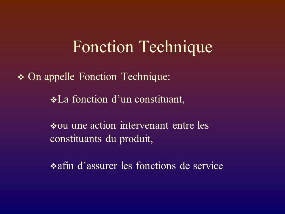 Fonction Technique On appelle Fonction Technique: La fonction dun constituant, ou une action intervenant entre les constituants du produit, afin dassurer les fonctions de service