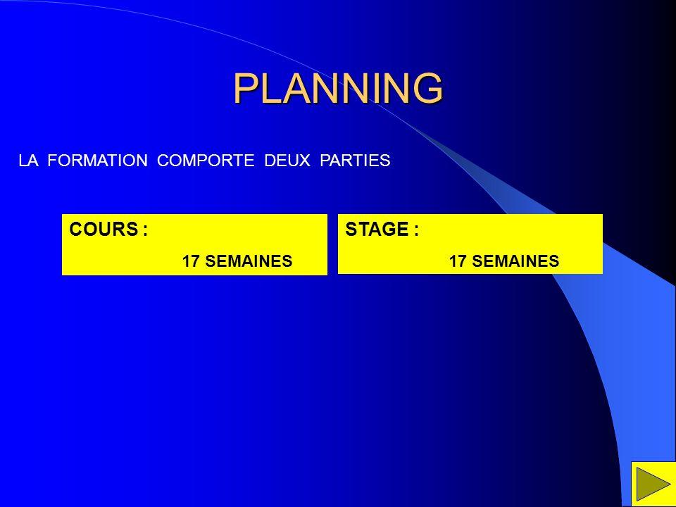 PLANNING COURS : 17 SEMAINES STAGE : 17 SEMAINES LA FORMATION COMPORTE DEUX PARTIES