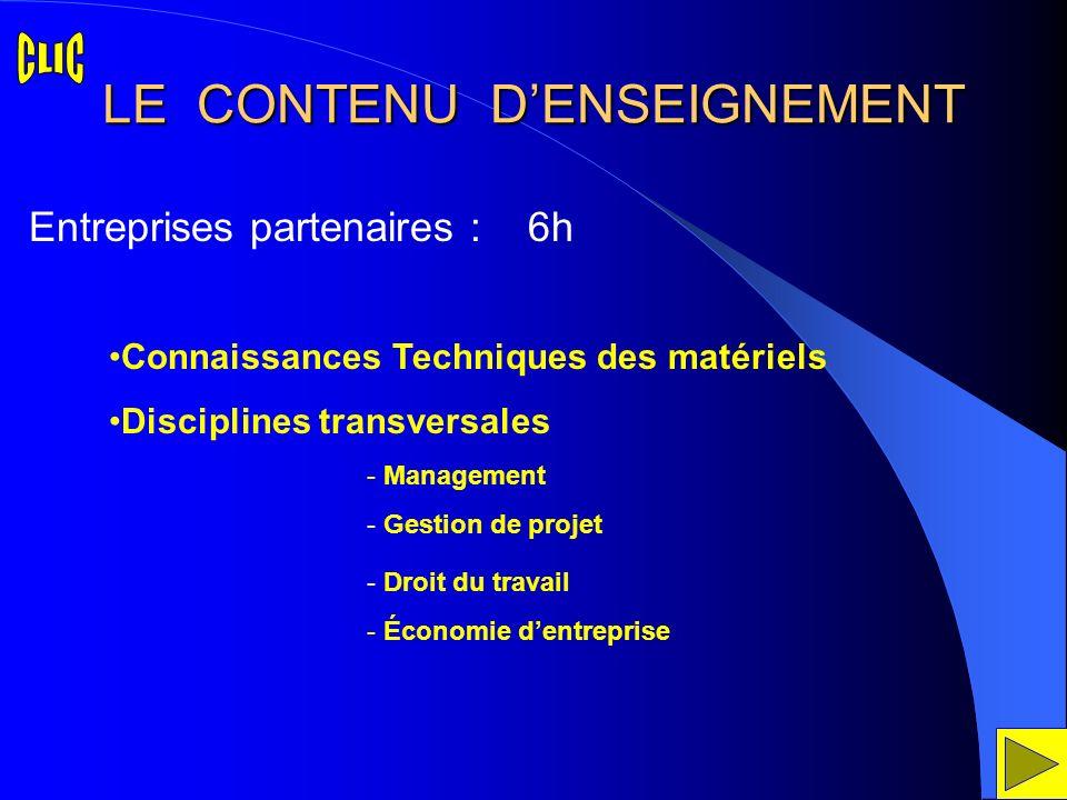 LE CONTENU DENSEIGNEMENT Connaissances Techniques des matériels Disciplines transversales Entreprises partenaires : 6h - Management - Gestion de proje