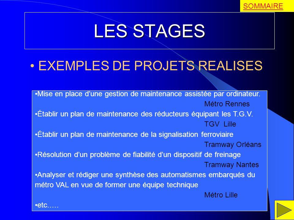 LES STAGES EXEMPLES DE PROJETS REALISES Mise en place dune gestion de maintenance assistée par ordinateur. Métro Rennes Établir un plan de maintenance