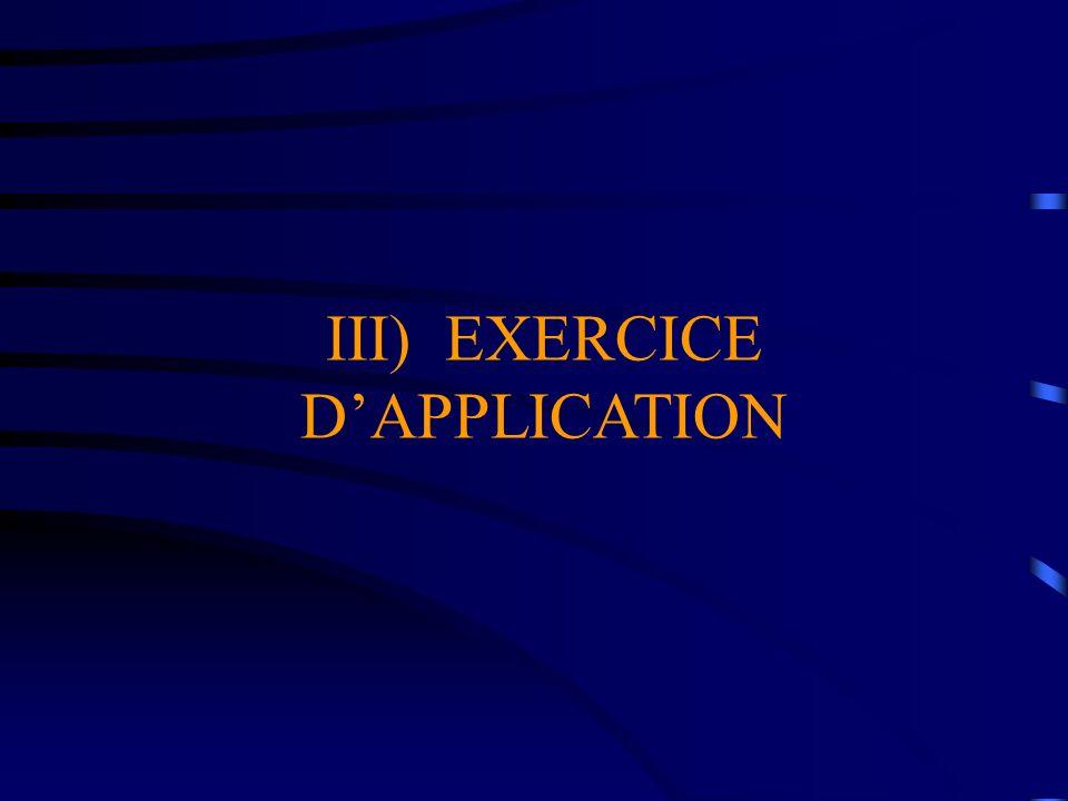 III) EXERCICE DAPPLICATION