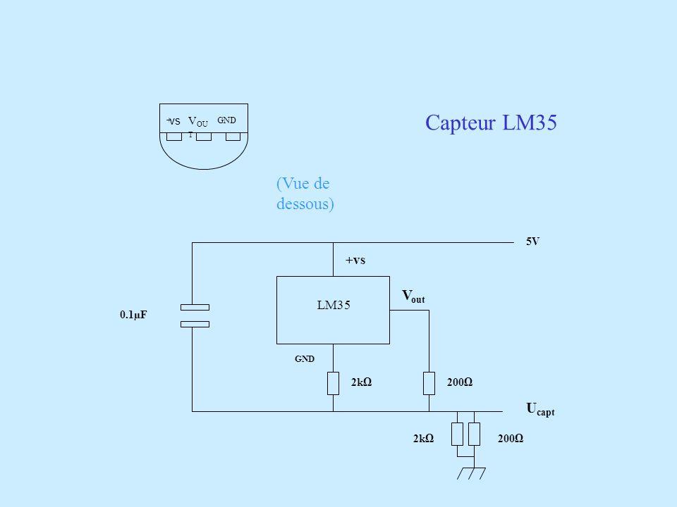 + V OU T GND (Vue de dessous) 2002k 2002k LM35 GND V out +vs 5V U capt 0.1µF Capteur LM35 vs