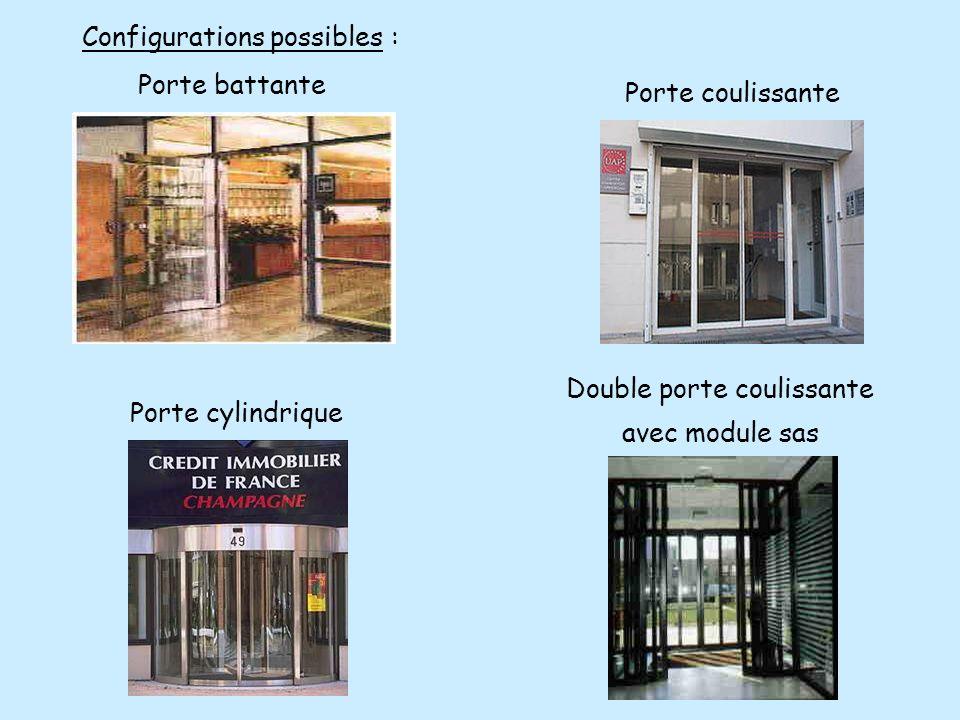 Configurations possibles : Porte coulissante Porte cylindrique Double porte coulissante avec module sas Porte battante
