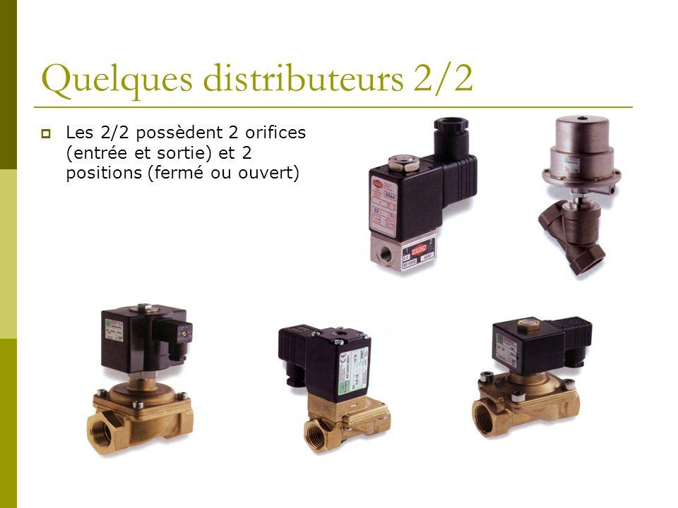 Quelques distributeurs 2/2 Les 2/2 possèdent 2 orifices (entrée et sortie) et 2 positions (fermé ou ouvert)