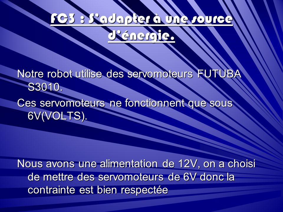 FC3 : Sadapter à une source dénergie.Notre robot utilise des servomoteurs FUTUBA S3010.