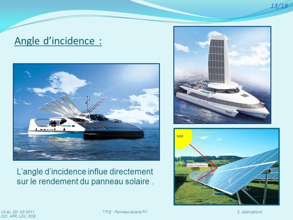 Langle dincidence influe directement sur le rendement du panneau solaire. Angle dincidence : V4 du 20/ 03/ 2011 T.P.E : Panneau solaire PV 3. Applicat
