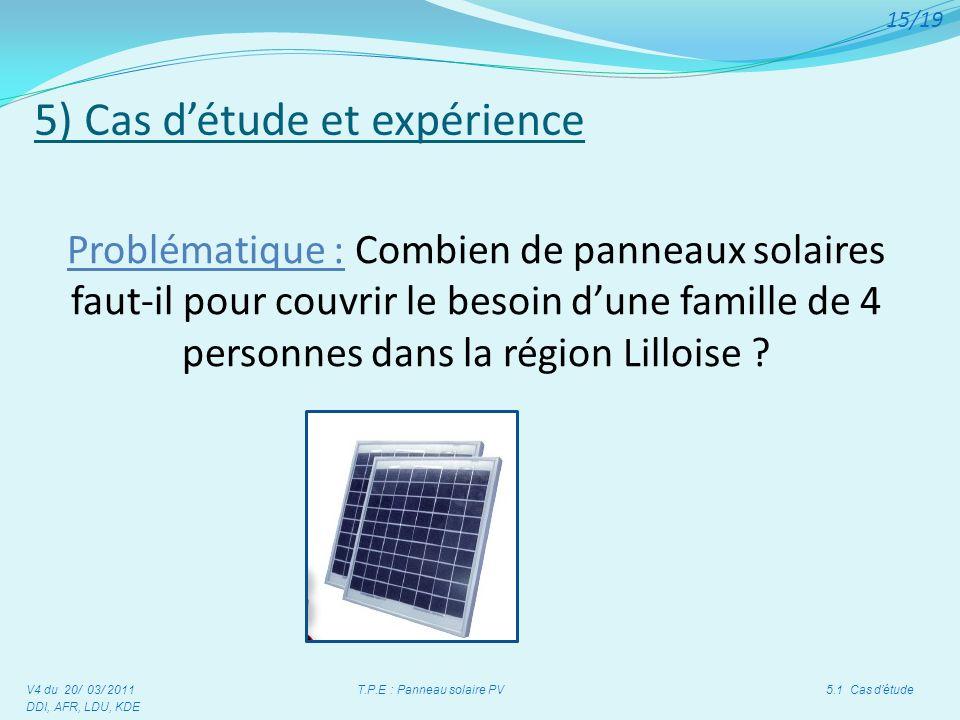 5) Cas détude et expérience V4 du 20/ 03/ 2011 T.P.E : Panneau solaire PV 5.1 Cas détude DDI, AFR, LDU, KDE 15/19 Problématique : Combien de panneaux