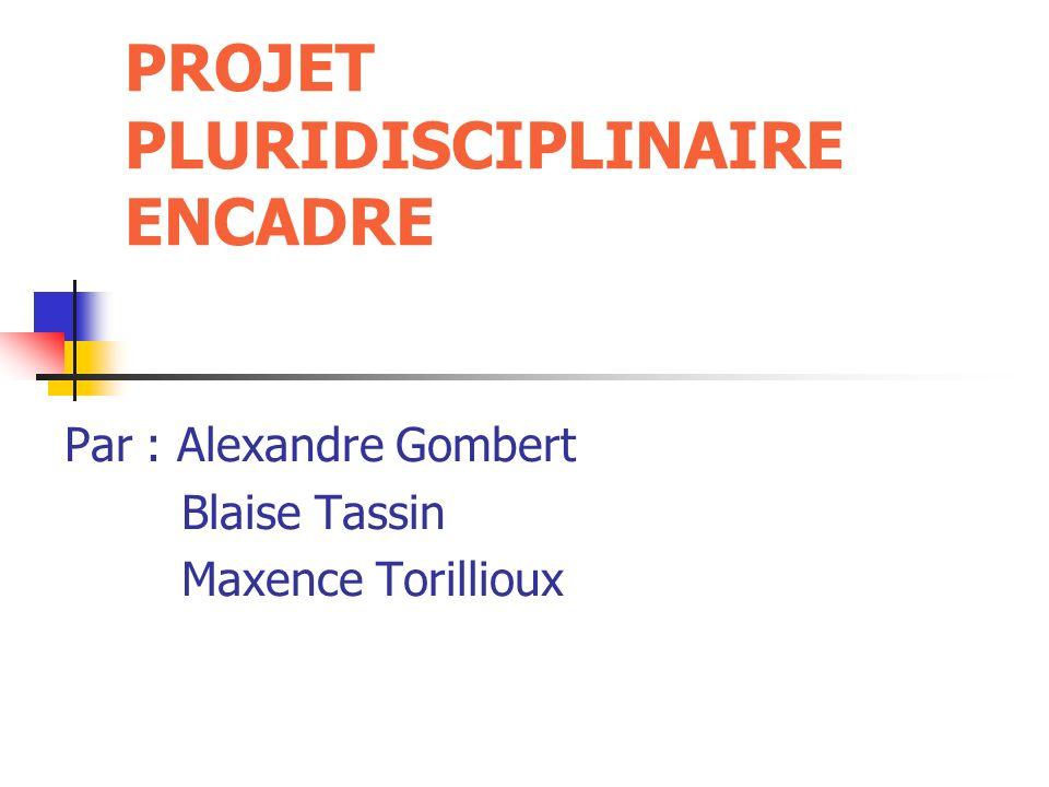 PROJET PLURIDISCIPLINAIRE ENCADRE Par : Alexandre Gombert Blaise Tassin Maxence Torillioux
