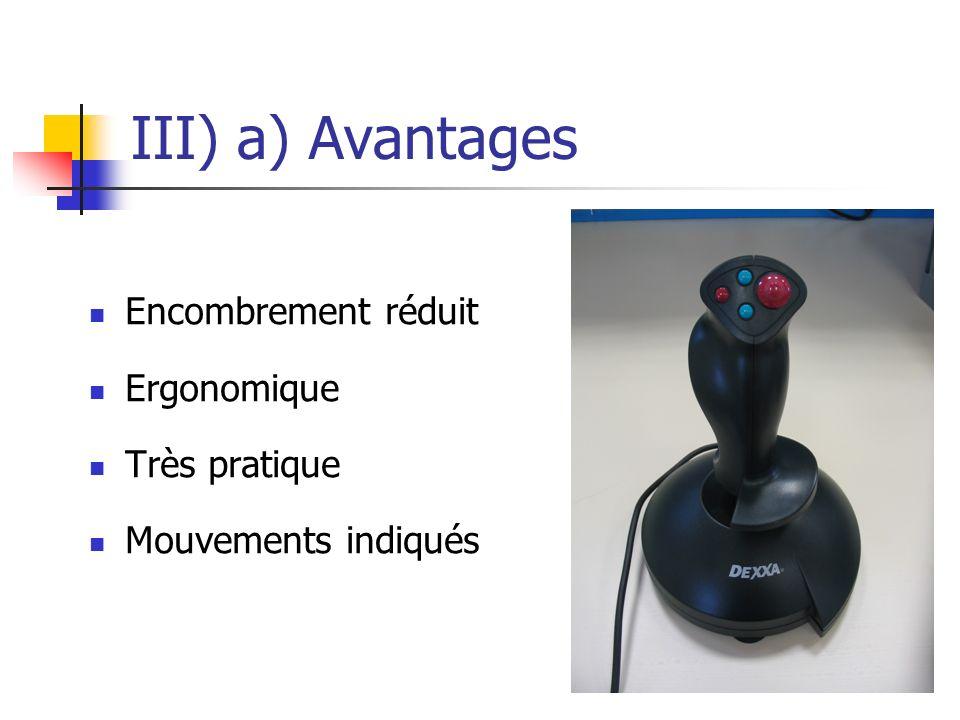 III) a) Avantages Encombrement réduit Ergonomique Très pratique Mouvements indiqués