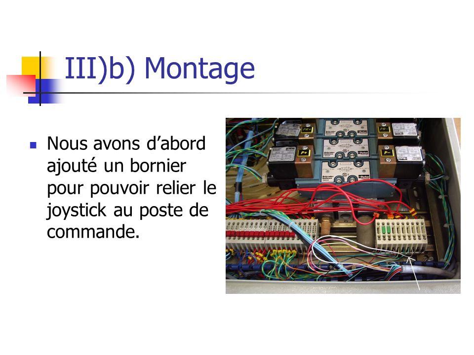 III)b) Montage Nous avons dabord ajouté un bornier pour pouvoir relier le joystick au poste de commande.