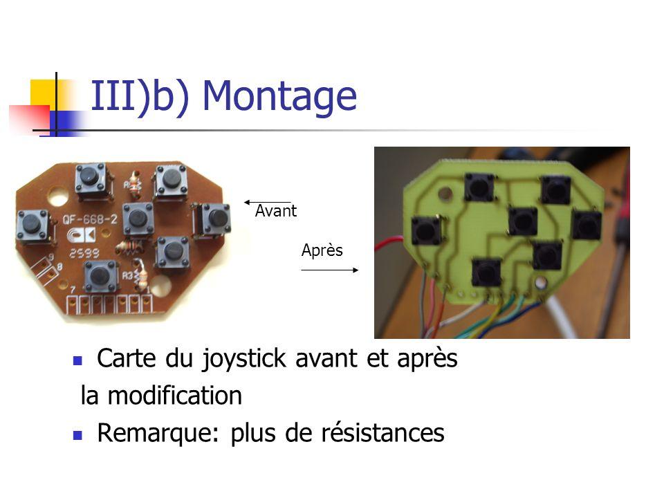 III)b) Montage Carte du joystick avant et après la modification Remarque: plus de résistances Avant Après