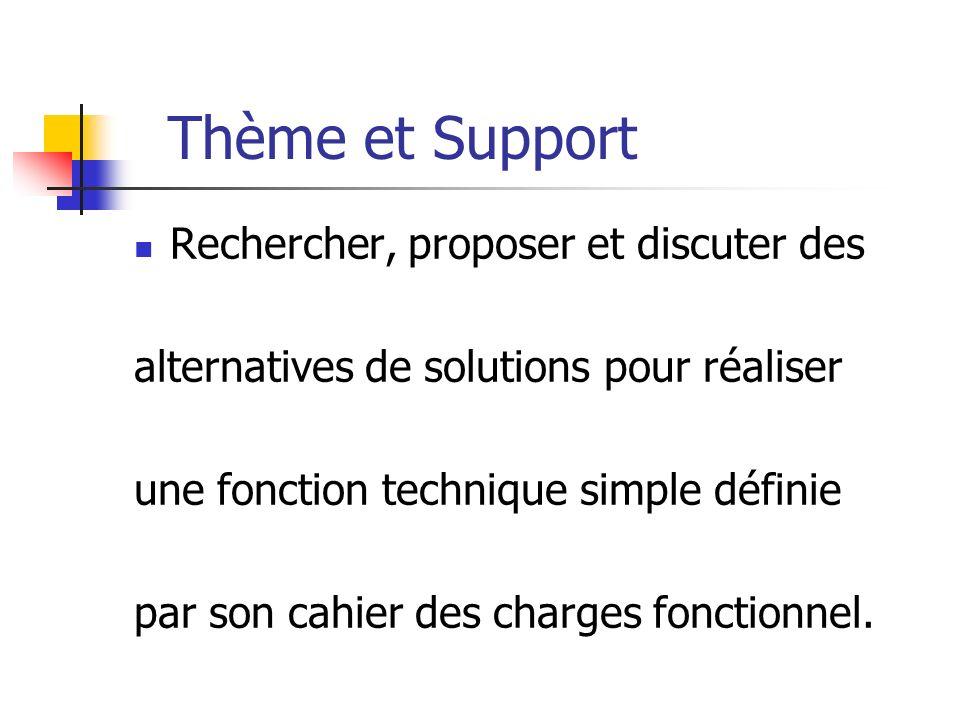 Thème et Support Rechercher, proposer et discuter des alternatives de solutions pour réaliser une fonction technique simple définie par son cahier des