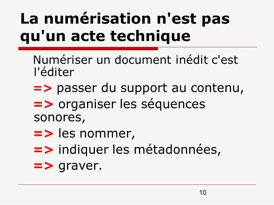 10 La numérisation n'est pas qu'un acte technique Numériser un document inédit c'est l'éditer => passer du support au contenu, => organiser les séquen