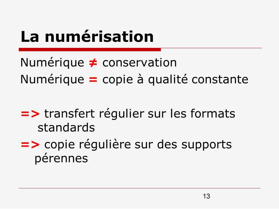 13 La numérisation Numérique conservation Numérique = copie à qualité constante => transfert régulier sur les formats standards => copie régulière sur