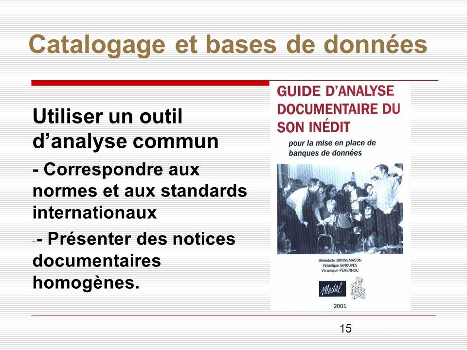 15 Catalogage et bases de données Utiliser un outil danalyse commun - Correspondre aux normes et aux standards internationaux - - Présenter des notice
