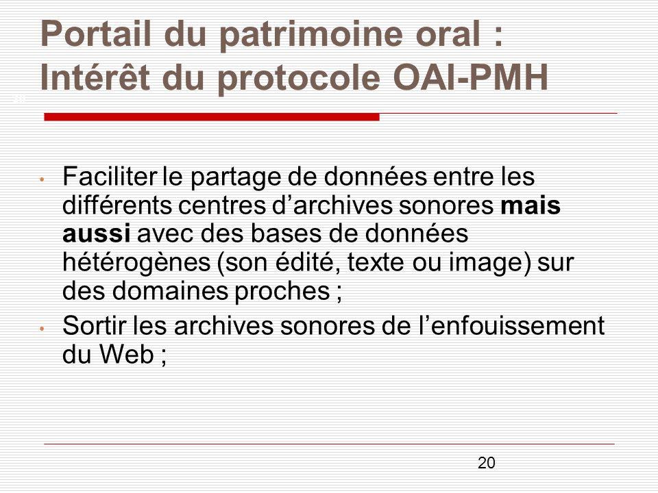 20 Portail du patrimoine oral : Intérêt du protocole OAI-PMH 20 Faciliter le partage de données entre les différents centres darchives sonores mais au