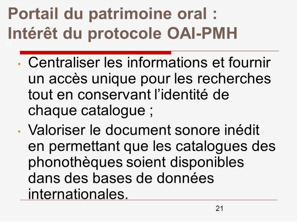 21 Portail du patrimoine oral : Intérêt du protocole OAI-PMH 21 Centraliser les informations et fournir un accès unique pour les recherches tout en co