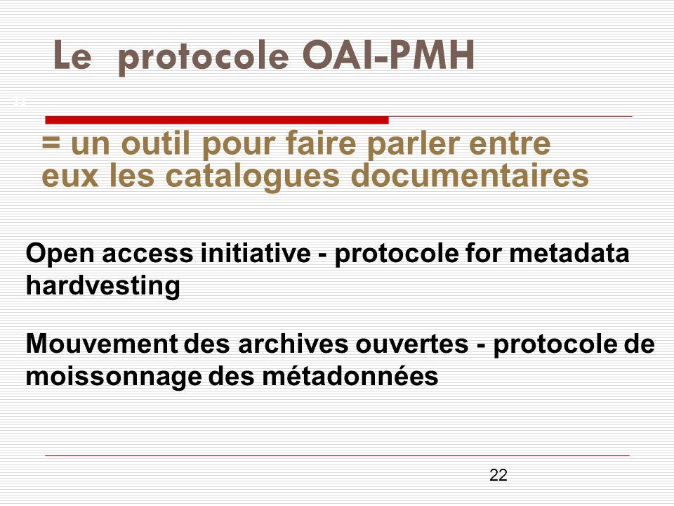 22 Open access initiative - protocole for metadata hardvesting Mouvement des archives ouvertes - protocole de moissonnage des métadonnées Le protocole