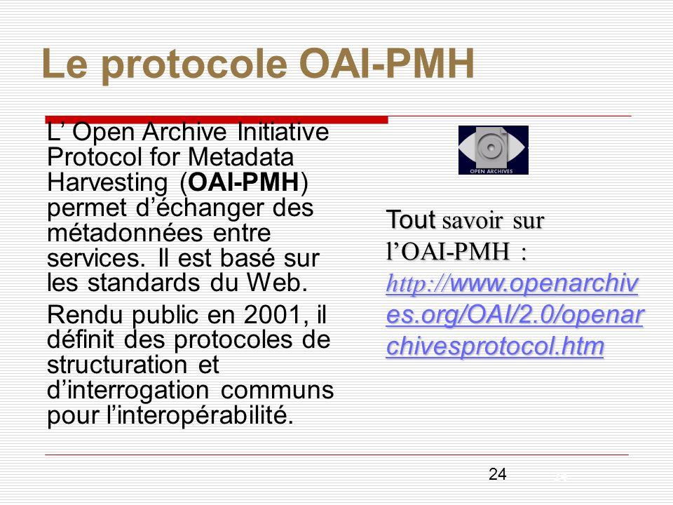 24 Le protocole OAI-PMH L Open Archive Initiative Protocol for Metadata Harvesting (OAI-PMH) permet déchanger des métadonnées entre services. Il est b