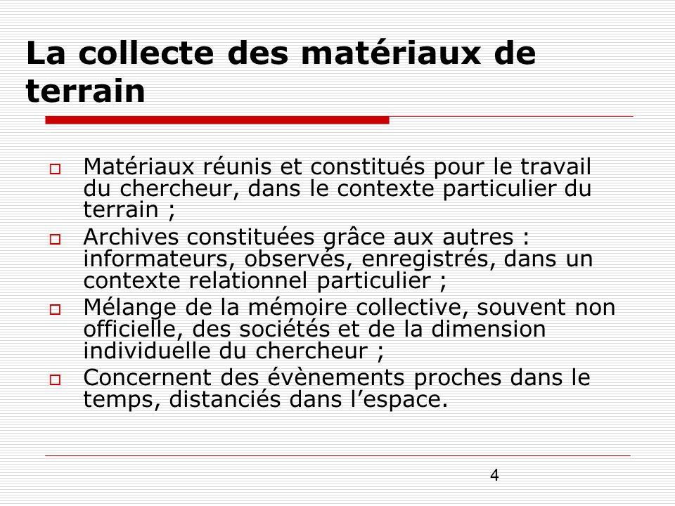 4 La collecte des matériaux de terrain Matériaux réunis et constitués pour le travail du chercheur, dans le contexte particulier du terrain ; Archives