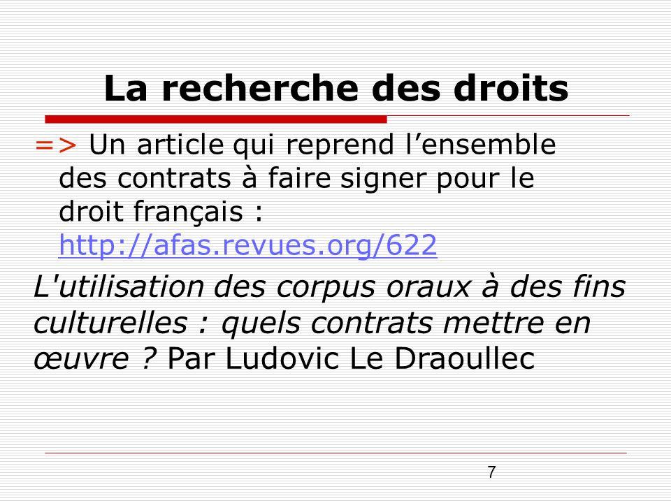 7 La recherche des droits => Un article qui reprend lensemble des contrats à faire signer pour le droit français : http://afas.revues.org/622 http://a