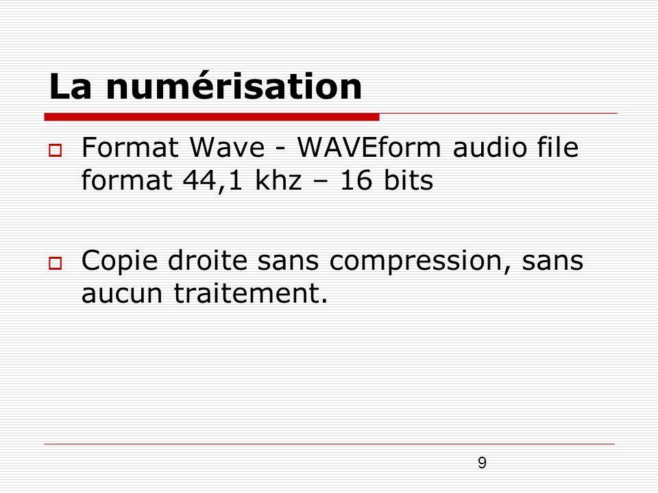 9 La numérisation Format Wave - WAVEform audio file format 44,1 khz – 16 bits Copie droite sans compression, sans aucun traitement.