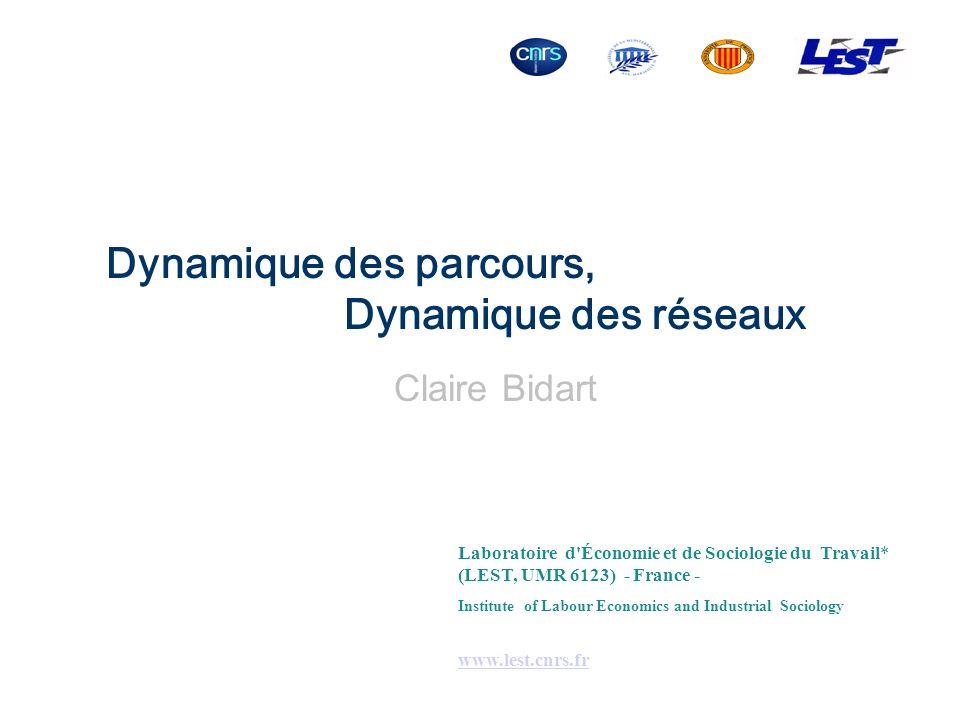 Dynamique des parcours, Dynamique des réseaux Claire Bidart Laboratoire d'Économie et de Sociologie du Travail* (LEST, UMR 6123) - France - Institute