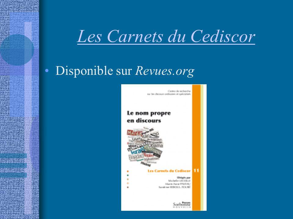 Les Carnets du Cediscor Disponible sur Revues.org