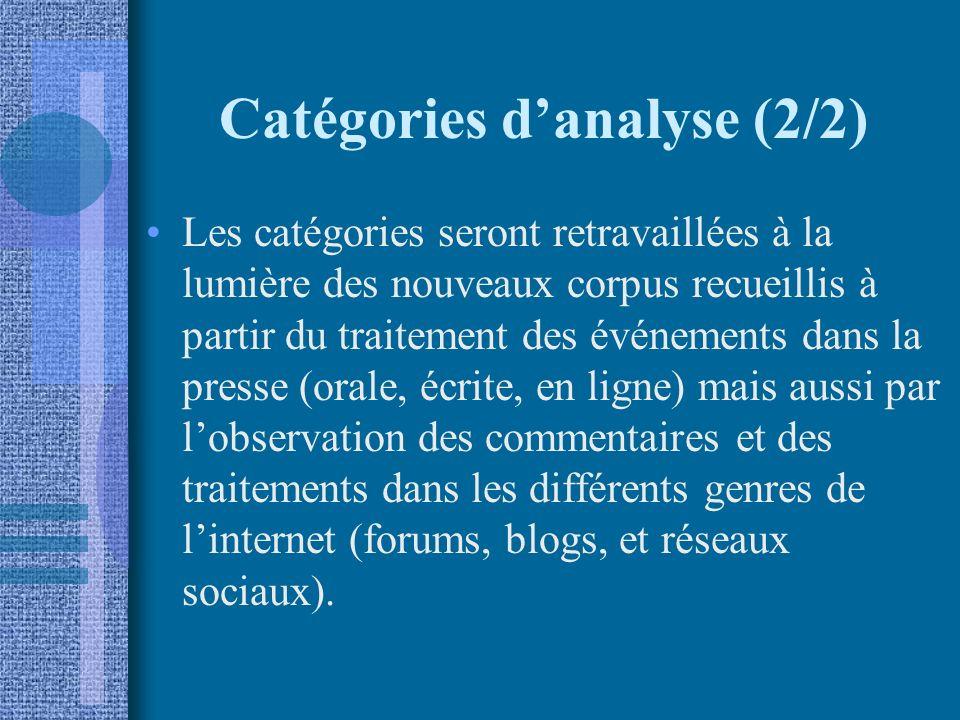 Catégories danalyse (2/2) Les catégories seront retravaillées à la lumière des nouveaux corpus recueillis à partir du traitement des événements dans la presse (orale, écrite, en ligne) mais aussi par lobservation des commentaires et des traitements dans les différents genres de linternet (forums, blogs, et réseaux sociaux).