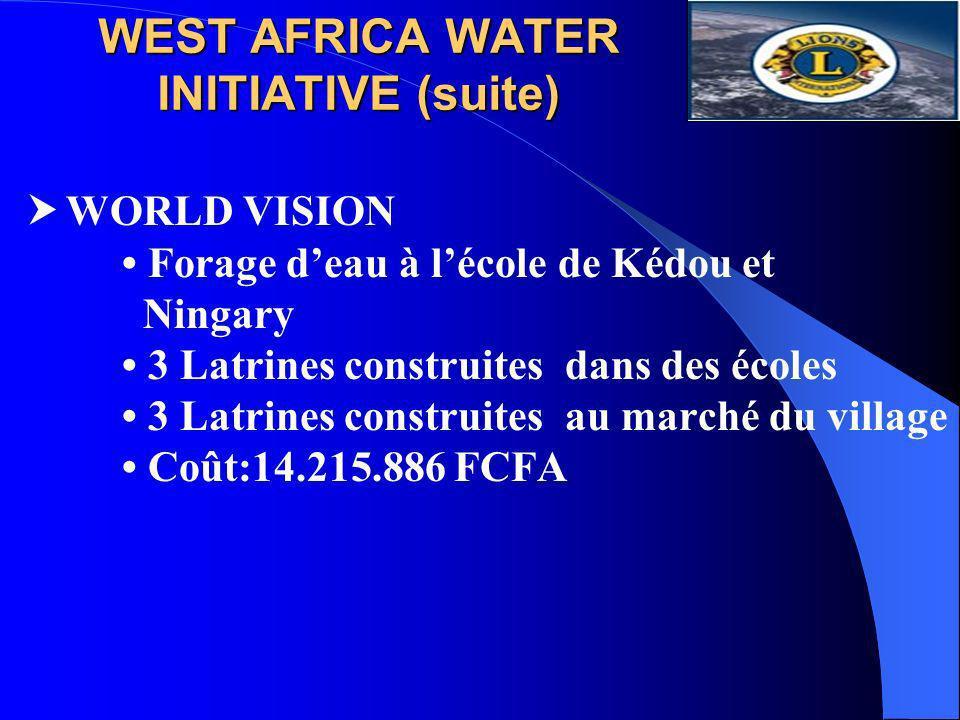 WEST AFRICA WATER INITIATIVE (suite) WORLD VISION Forage deau à lécole de Kédou et Ningary 3 Latrines construites dans des écoles 3 Latrines construit