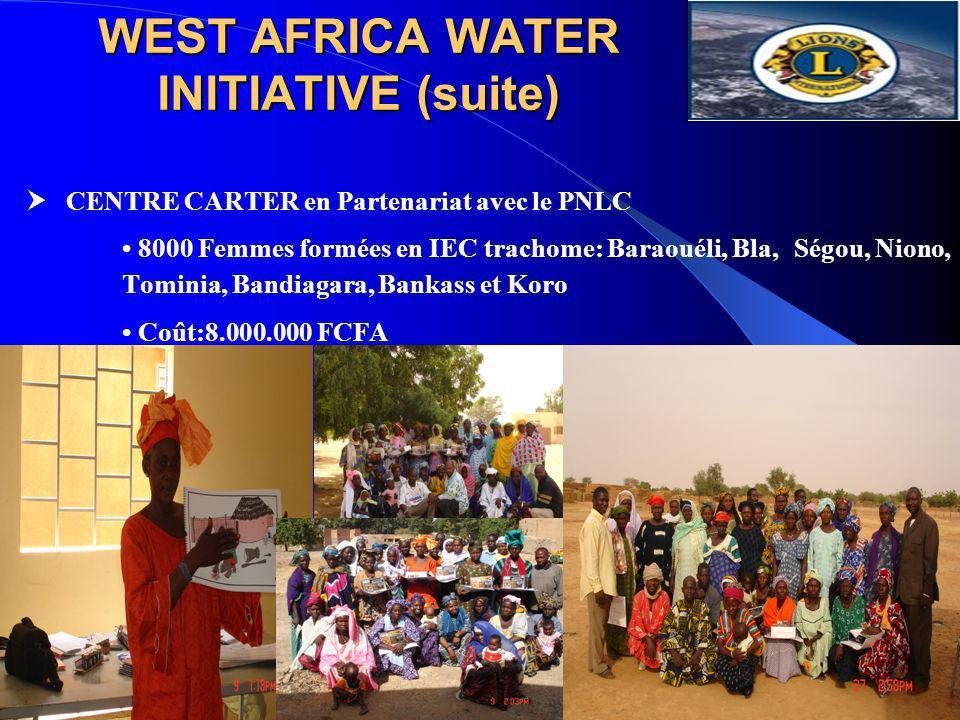 WEST AFRICA WATER INITIATIVE (suite) CENTRE CARTER en Partenariat avec le PNLC 8000 Femmes formées en IEC trachome: Baraouéli, Bla, Ségou, Niono, Tomi