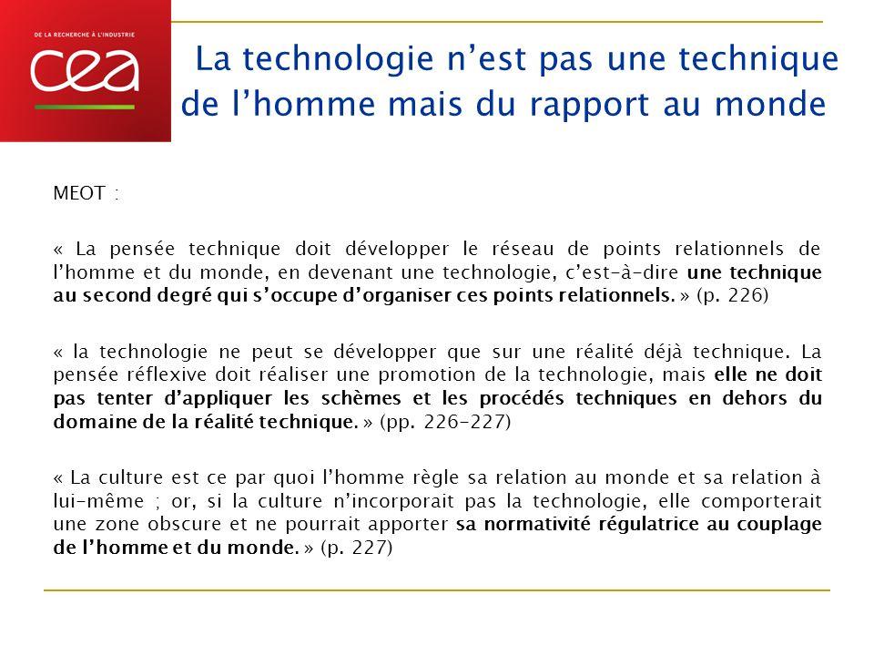 La technologie nest pas une technique de lhomme mais du rapport au monde MEOT : « La pensée technique doit développer le réseau de points relationnels