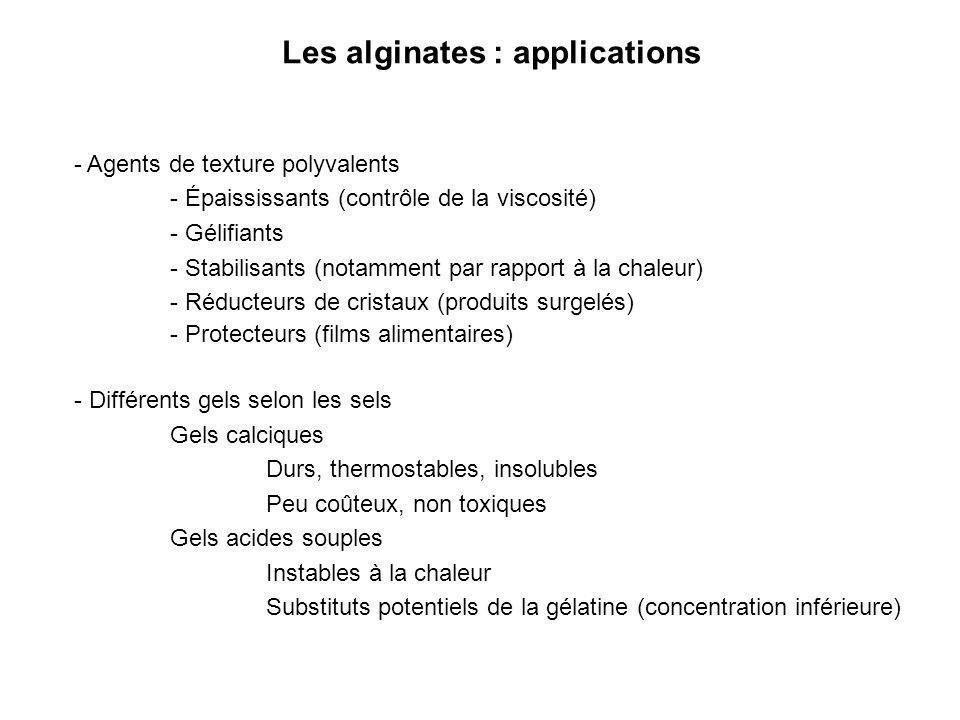 Les alginates : applications - Agents de texture polyvalents - Épaississants (contrôle de la viscosité) - Gélifiants - Stabilisants (notamment par rap