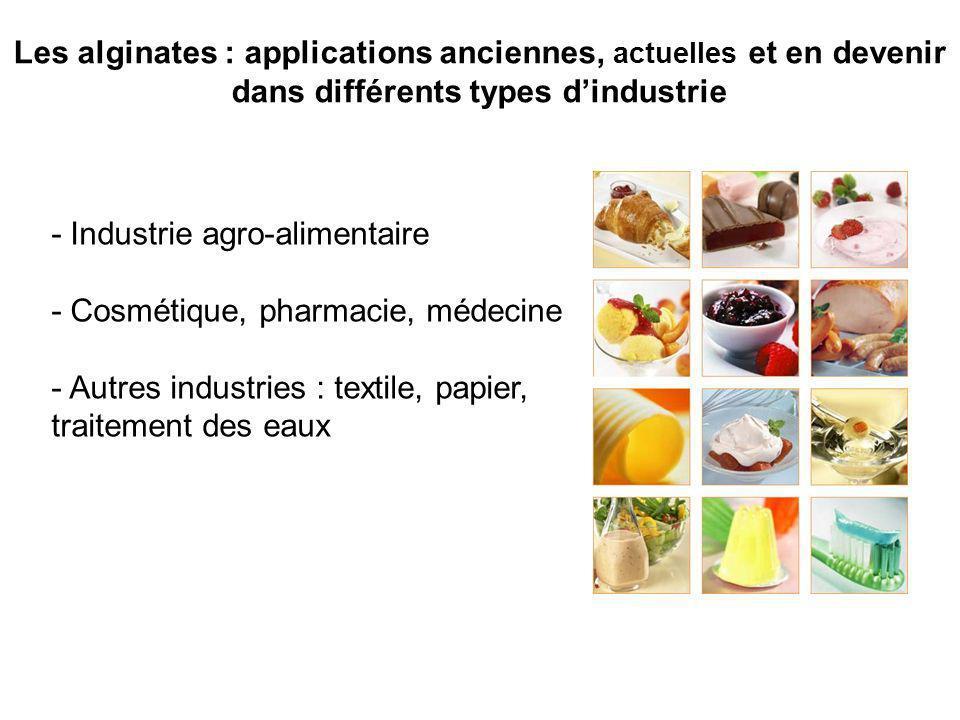 - Industrie agro-alimentaire - Cosmétique, pharmacie, médecine - Autres industries : textile, papier, traitement des eaux Les alginates : applications