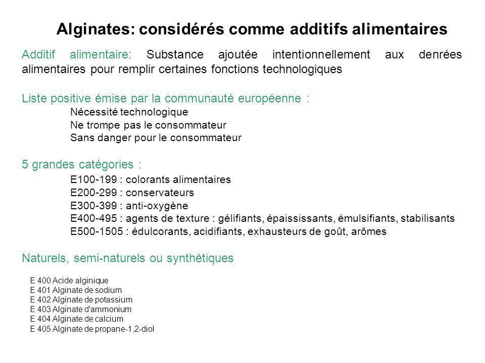 Alginates: considérés comme additifs alimentaires Additif alimentaire: Substance ajoutée intentionnellement aux denrées alimentaires pour remplir cert
