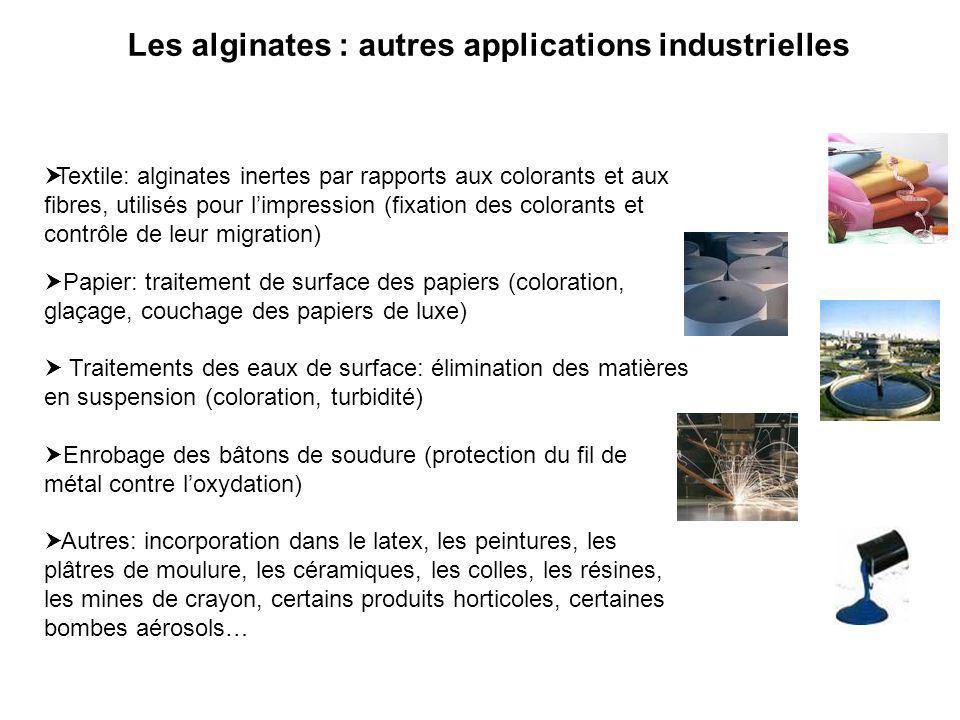 Les alginates : autres applications industrielles Textile: alginates inertes par rapports aux colorants et aux fibres, utilisés pour limpression (fixa
