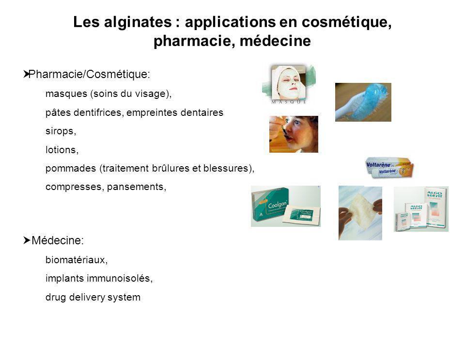 Les alginates : applications en cosmétique, pharmacie, médecine Pharmacie/Cosmétique: masques (soins du visage), pâtes dentifrices, empreintes dentair