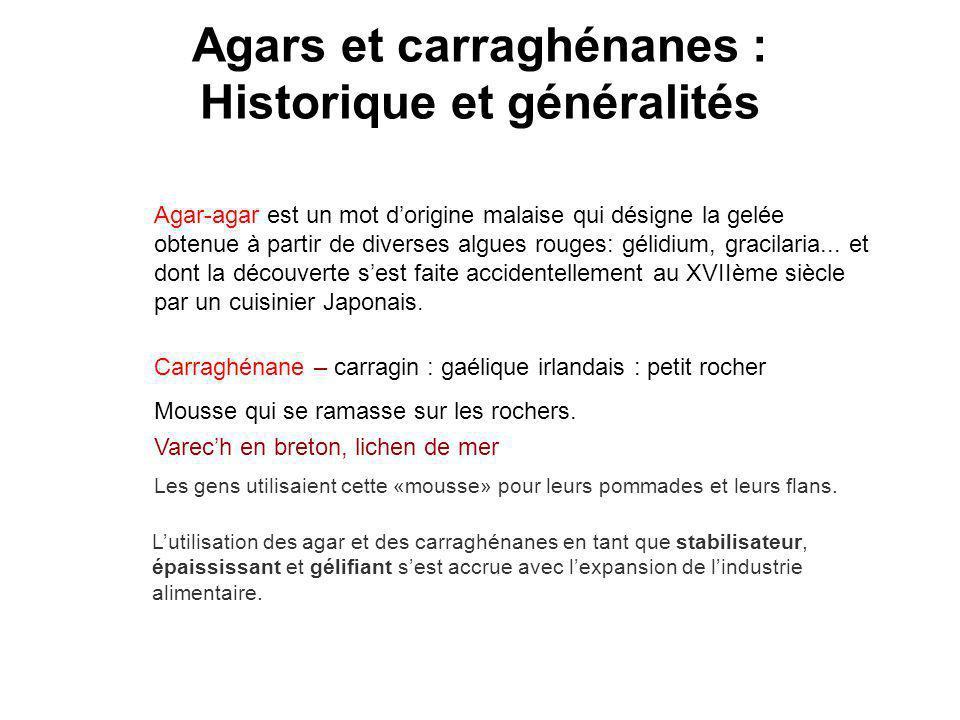 Agars et carraghénanes : Historique et généralités Carraghénane – carragin : gaélique irlandais : petit rocher Mousse qui se ramasse sur les rochers.