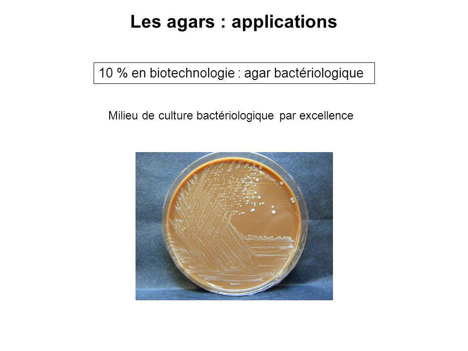 Les agars : applications 10 % en biotechnologie : agar bactériologique Milieu de culture bactériologique par excellence